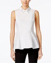 CeCe Embellished Peplum Shirt