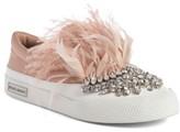 Miu Miu Women's Embellished Feather Slip-On Sneaker