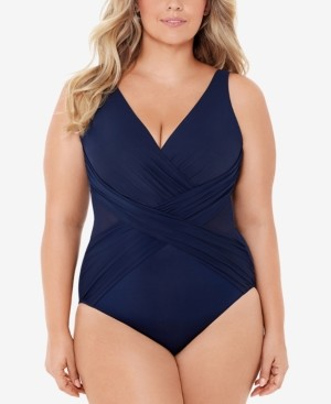 Miraclesuit Plus Size Allover-Slimming Crossover One-Piece Swimsuit Women's Swimsuit