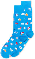 Hot Sox Men's Social Media Blue Socks