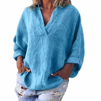 LEXUPE Women Summer Tops Comfortable Cool T-Shirts Casual Fashion Blouses Ladies Plus Size Solid Casual Linen V-Neck Blouse T-Shirt (Blue XL)