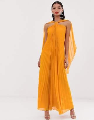 Asos Design DESIGN halter trapeze maxi dress in pleat-Orange