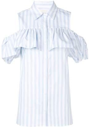 MICHAEL Michael Kors striped cold shoulder shirt