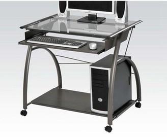 Ebern Designs Airyck Glass Desk Color: Gray