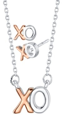 Unwritten Mini Xo Stud Earrings and Pendant Necklace Set in Two-Tone Fine Plated Silver, Created for Macy's