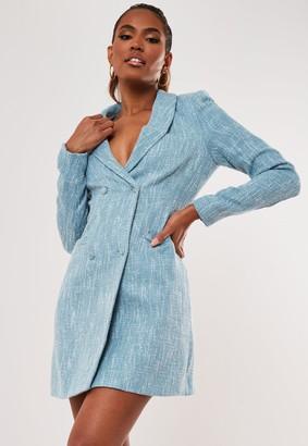 Missguided Blue Tweed Blazer Dress