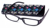 Eye-Zoom Slim Light Weight Flower Design Temple Floral Pouch High Fashion Reading Glasses in / Strength +