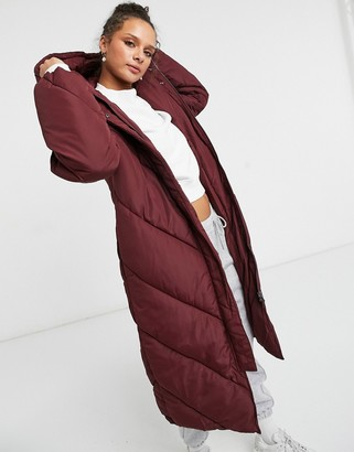 Monki Daniella recycled coat in wine red
