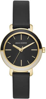 Armani Exchange Women Bette Black Leather Strap Watch 34mm