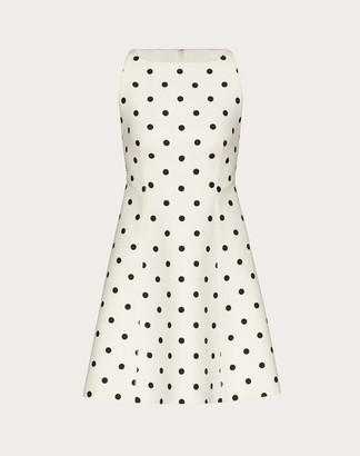 Valentino Short Printed Crepe Couture Dress Women Ivory/black Silk 35%, Virgin Wool 65% 36