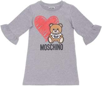 Moschino PRINTED COTTON DRESS W/ RUFFLES