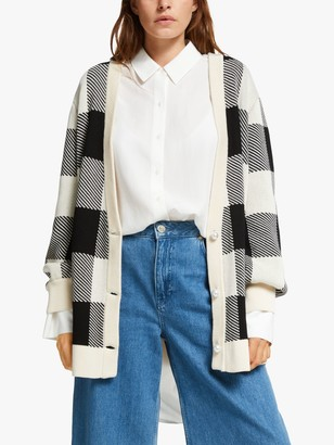 Mother of Pearl Organic Cotton Check Intarsia Cardigan, Black