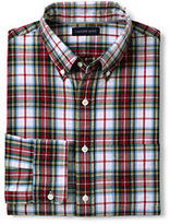 Lands' End Men's Tailored Fit Buttondown Collar Sail Rigger Oxford Shirt-Rich Pine Plaid
