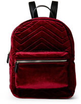Imoshion Wine Chevron Quilted Velour Mini Backpack
