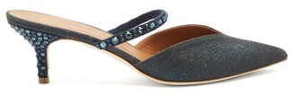 Malone Souliers Marla Crystal-embellished Lurex Mules - Womens - Navy