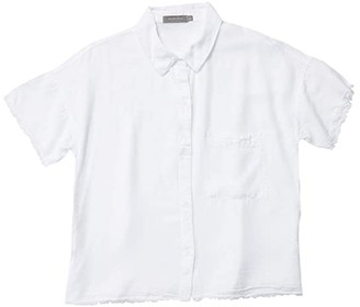 Mod-o-doc Tencel Twill Short Sleeve Button Front Shirt with Frayed Hem (Pale Peri) Women's Clothing