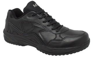 AdTec Women's Black Lace Work Shoe - Composite Safety Toe Slip Resistant Breathable + Comfortable 8.5 M US