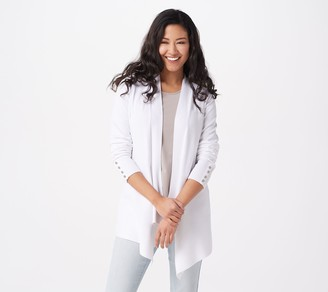 Susan Graver Rayon Nylon Sweater Cardigan with Button Detail