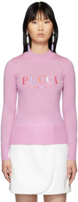 Emilio Pucci Pink Embroidered Logo Sweater