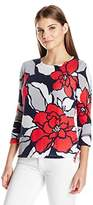 Alfred Dunner Women's Plus Size Mesh Floral Sweater