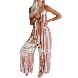 MoneRffi Women Vintage V Neck Harems Jumpsuit Sleeveless Overall Long Playsuit Trousers Pants Rompers Dungarees