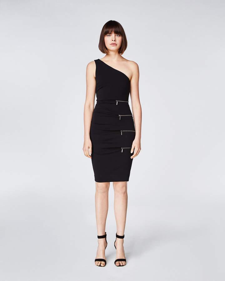 Nicole Miller One Shoulder Zipper Dress