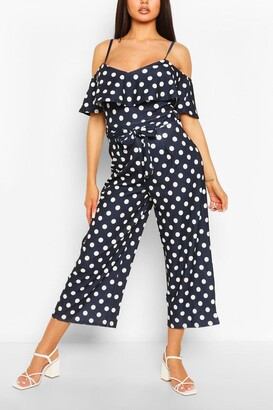 boohoo Polka Dot Cold Shoulder Wide Leg Belted Jumpsuit