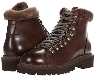Eleventy Shearling Detail Hiker Boot (Brown) Men's Shoes