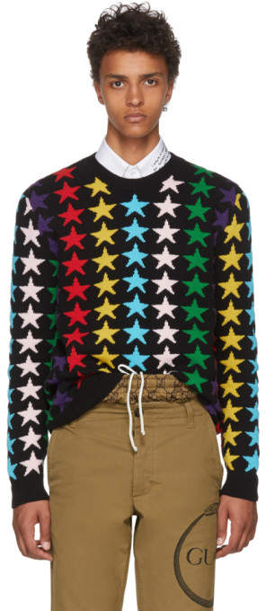 Gucci Black and Multicolor Star Sweater