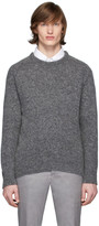 Thom Browne Grey Mohair Center Back Stripe Sweater
