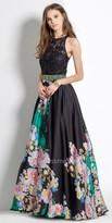 Camille La Vie Satin Floral Evening Dress