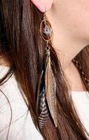 Tailfeather Designs Planet Blue Exclusive Druzy Feather Flock Earrings