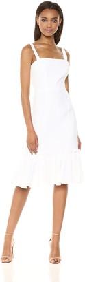 Milly Women's Italian Linen Kerry Spaghetti Strap Dress with Ruffle Hem