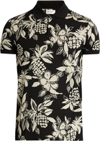 Saint Laurent Hibiscus-print cotton polo shirt