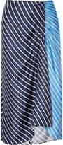 Tibi Delphina Ruched Striped Silk-twill Midi Skirt - Midnight blue