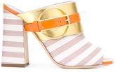 Pollini Deco Colour-Block & Stripes mules - women - Leather/rubber - 39