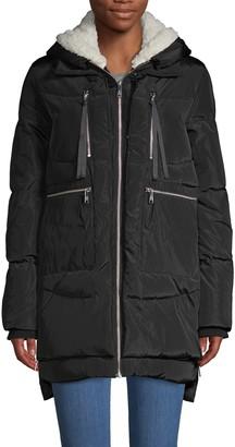Sam Edelman Faux Fur-Trim, Down & Feather Fill Coat