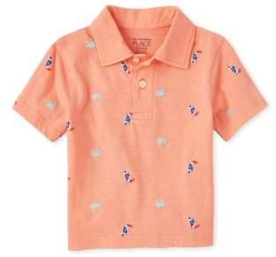 Children's Place The Toddler Boy Short Sleeve Pelican Print Polo Shirt
