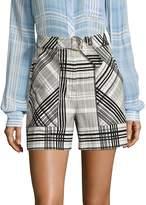Diane von Furstenberg Women's Plaid High-Waist Shorts
