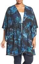 Melissa McCarthy Print Tie Front Woven Topper (Plus Size)