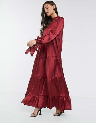 ASOS DESIGN satin tiered maxi smock dress with tie sleeves in wine red