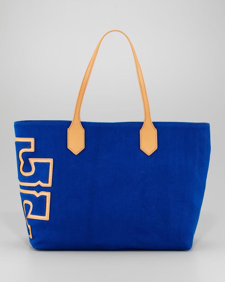 Tory Burch Canvas Stacked-Logo Tote Bag, Royal Ocean