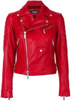 DSQUARED2 biker jacket - women - Cotton/Calf Leather/Polyester/Virgin Wool - 40