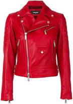 DSQUARED2 biker jacket - women - Cotton/Calf Leather/Polyester/Virgin Wool - 42
