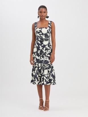 Oscar de la Renta Graphic Floral Twill Dress