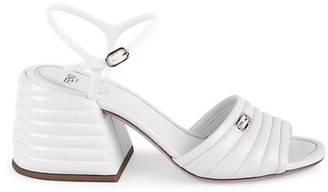 Fendi Quilted Leather Block-Heel Sandals