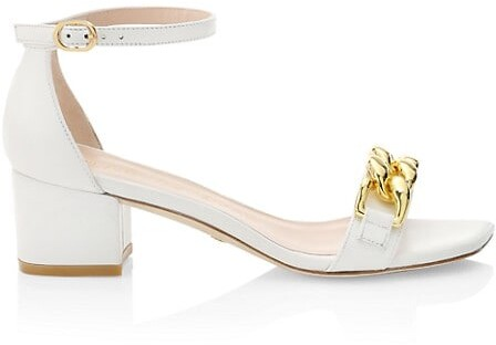 Thumbnail for your product : Stuart Weitzman Amelina Chain Block-Heel Leather Sandals