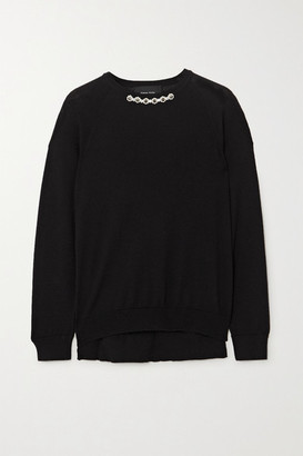 Simone Rocha Bite Back Embellished Wool And Silk-blend Sweater