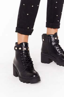 Nasty Gal Womens A Little Extra Faux Leather Diamante Boots - black - 4