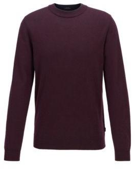 HUGO BOSS Regular Fit Sweater In Mouline Virgin Wool - Dark Blue